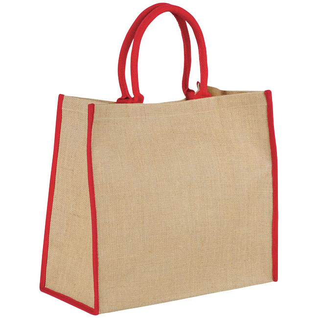 Colour Trim Jute Tote